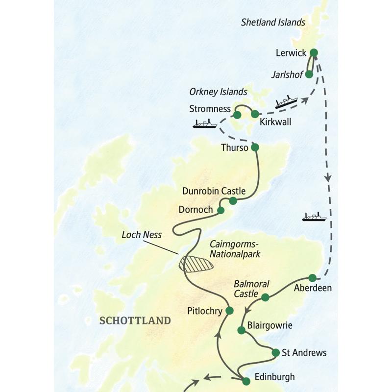 Bei unserer neuntägigen Studienreise nach Schottland kommen wir so weit nördlich wie bei keiner anderen Reise nach Großbritannien: Orkney und Shetland, aber auch die Highlands und Edinburgh stehen auf dem Programm.
