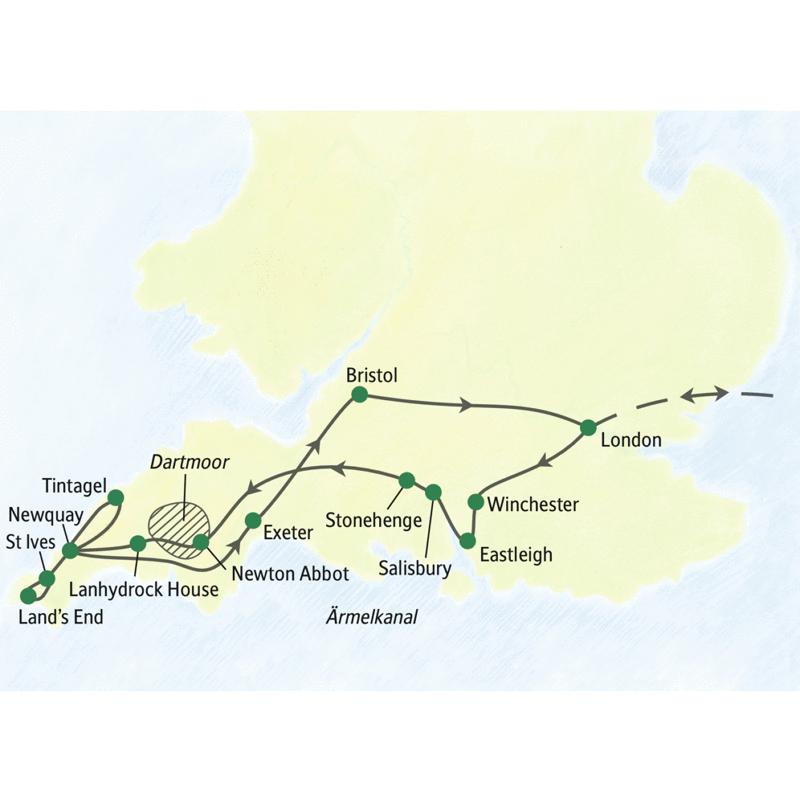 Bei unserer PreiswertStudienreise Südengland zum Kennenlernen  sehen Sie unter anderem  Winchester, Salisbury, Stonehange und das Dartmoor. In Cornwall übernachten Sie in Newquay und sehen St Ives, Land's End, Tintagel und Lanhydrock House. Letzte Station vor dem Rückflug: Bristol.