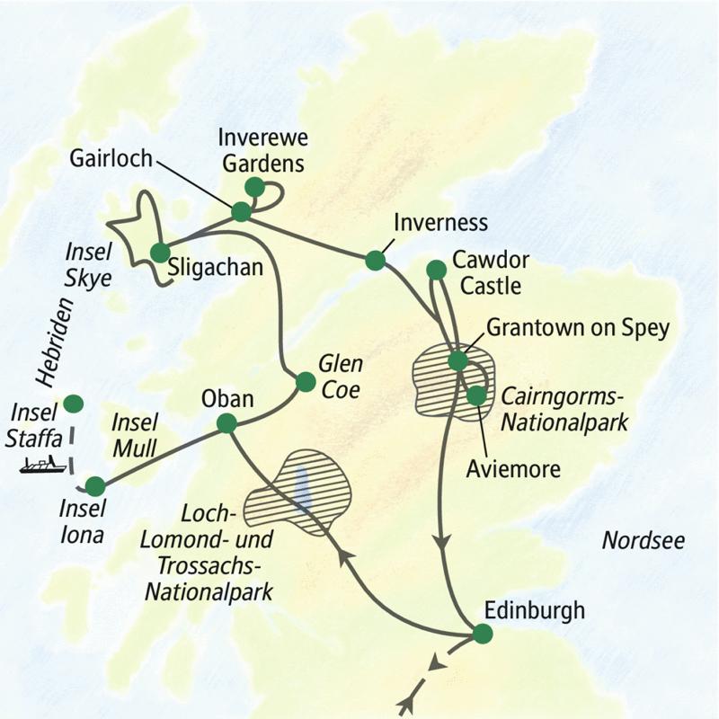 Unsere Studienreise durch Schottland mit vielen Wanderungen führt in zwölf Tagen vom königlichen Edinburgh durch die Highlands zu den Hebriden.