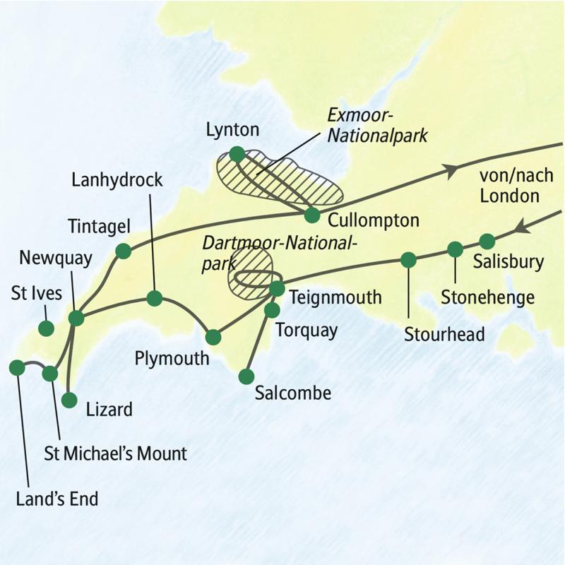 Die Reiseroute der Wanderstudienreise Südengland - Wandern in Devon und Cornwall beginnt und endet am Flughafen London Heathrow. Unterwegs sehen wir unter anderem Stonehenge, Stourhead, St. Michaels Mount und Tintagel. Wir wandern im Dartmoor-Nationalpark und im Exmoor-Nationalpark. Und auf einigen Abschnitten des Küstenwanderwegs.