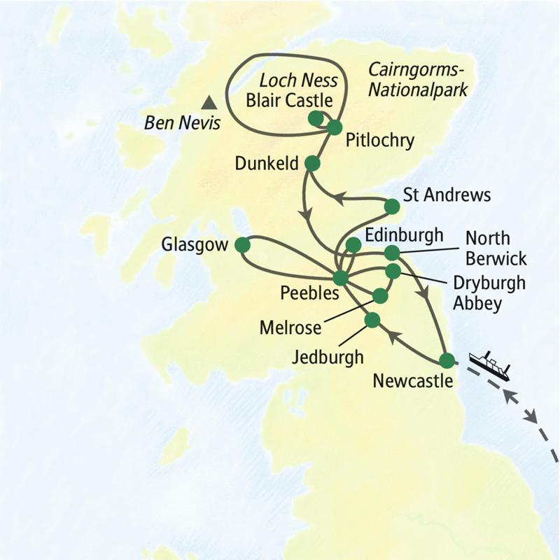 Auf dieser Studienreise mit Muße erleben Sie in elf Tagen Schottland, wo es am schönsten ist: in den Borders, den Highlands und auf den Islands. Ganz entspannt reisen Sie mit der Fähre an und sehen u. a. Loch Ness, Blair Castle, Glasgow und Edinburgh.