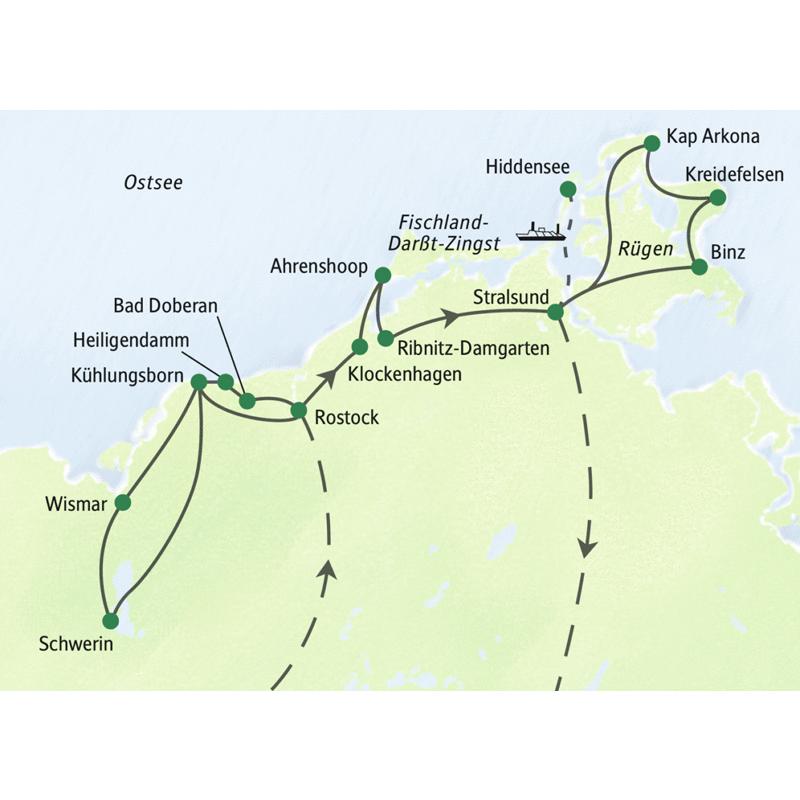 Unsere Studienreise zur Deutschen Ostseeküste führt in die Hansestädte Wismar, Rostock und Stralsund. Wir unternehmen Ausflüge nach Rügen und Hiddensee sowie nach Schwerin.