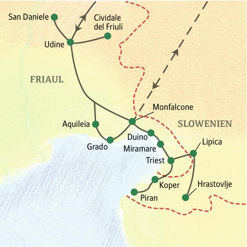 Auf unserer Studienreise ins Friaul übernachten wir dreimal in Udine und viermal in Triest. Ein Abstecher fürht außerdem nach Slowenien.