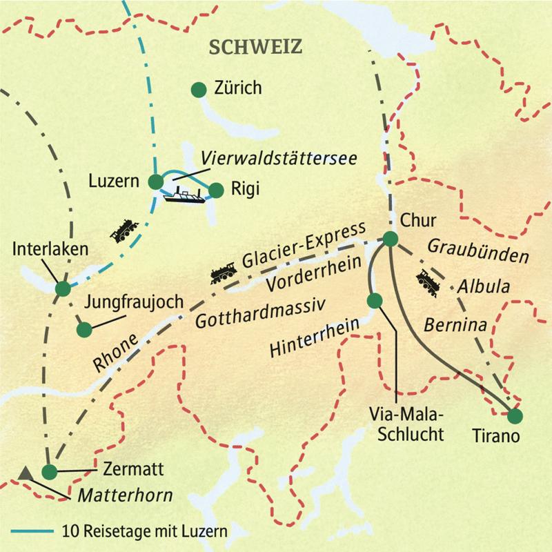 Die Reiseroute unserer Studienreise führt durch die Schweizer Berge - mit dem Glacier Express und der Berninabahn. Im Programm: Matterhorn, Jungfraujoch und Interlaken, Luzern und Vierwaldstätter Seelles, Via-Mala-SChlucht ...