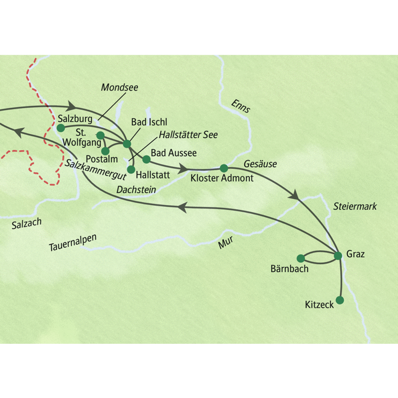 Erleben Sie auf dieser Studienreise in neun Tagen Österreichs Höhepunkte zwischen Salzburg und Graz: die Berge und Seen im Salzkammergut rund um den Kurort Bad Ischl und die Genießerregion der Steiermark.