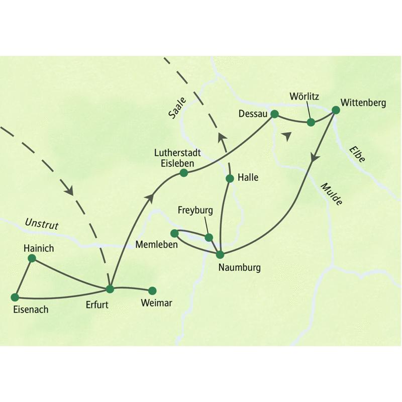 Auf unserer Reiseroute der Studienreise nach Thüringen & Sachsen-Anhalt erkunden wir die Gegend um Erfurt und Dessau: Wartburg und Weimar, Bauhaus und Hainich, Eisenach und Lutherstadt Wittenberg und das Wörlitzer Gartenreich.