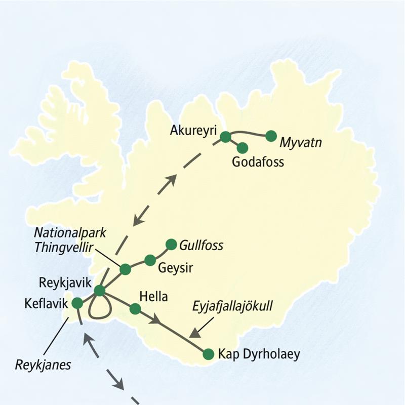 Eine neuntägige Studienreise nach Island im Winter mit entspannten Tagesetappen, zwei Panoramaflügen übers Hochland und guten Chancen Polarlichter zu beobachten.